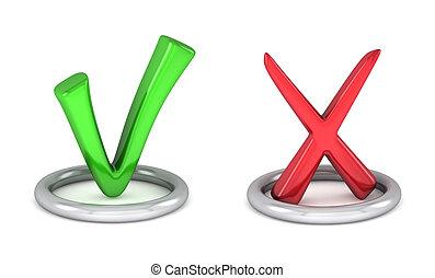 señal, marca, verde, cancele, garrapata, cheque, rojo, 3d