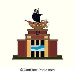 señal, museum., marítimo, europeo