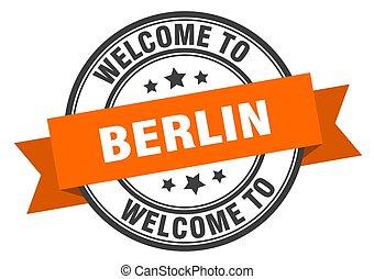 señal, naranja, bienvenida, stamp., berlín