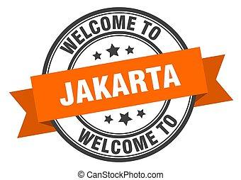 señal, naranja, bienvenida, stamp., yakarta