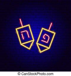 señal, neón, dreidel