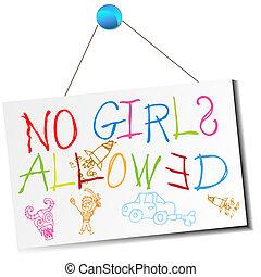 señal, niñas, no, permitido