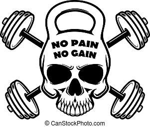 señal, no, barbells., etiqueta, dolor, gain., vector, forma...