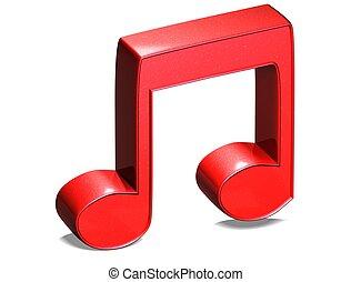 señal, nota, música, plano de fondo, rojo blanco, 3d