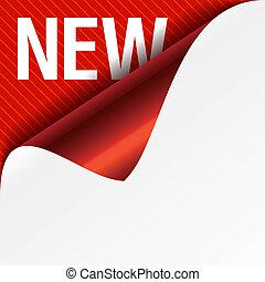 señal, nuevo, -, rizado, esquina