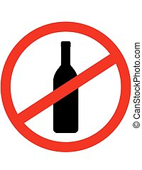 señal, parada, alcohol, con, botella de vino