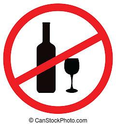 señal, parada, alcohol