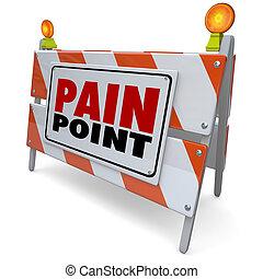señal, peligro, punto, necesidad, problema, dolor, advertencia, dificultad, cliente