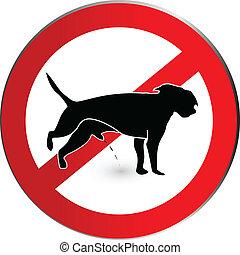 señal, pis, no, logotipo, perro