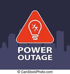 señal, potencia, city., triangular, outage