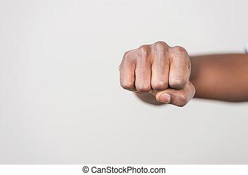 señal, puño, puñetazo, plano de fondo, aislado, hombre, ...