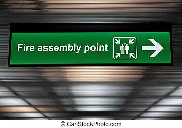 señal, punto, techo, ahorcadura, asamblea, verde, fuego