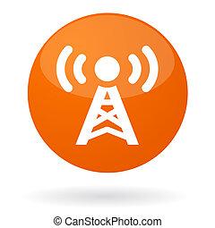 señal, radio, botón
