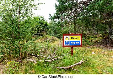 """señal, retener, bosque, out!"""", lectura, """"danger!"""