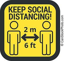 señal, retener, seguro, distancia, social