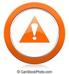 señal, símbolo, naranja, exclamación, alarma, icono, ...