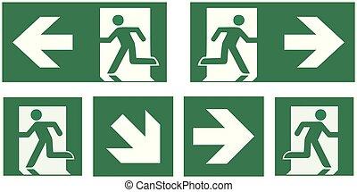 señal, salida de emergencia, ilustración, -, conjunto, ...