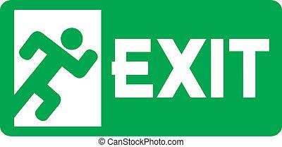 señal, salida de emergencia, verde