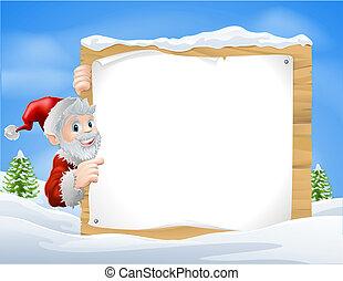 señal, santa, nieve, escena navidad