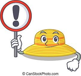 señal, sombrero, tabla, verano, exclamación, icono, caricatura
