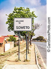 señal, sudáfrica, soweto, municipios, johannesburg, pueblo