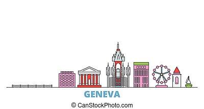 señal, vector., línea, mundo, plano, oultine, ginebra, cityscape, viaje, ciudad, iconos, suiza, ilustración