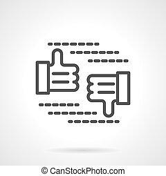 señal, vector, negro, rechazo, línea, aprobar, icono