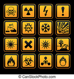 señal, vectors, peligro, símbolos, fondo negro, naranja