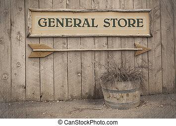 señal, vendimia, tienda, general