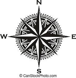 señal, vendimia, vector, navegación, compás