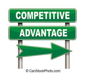 señal, ventaja, camino, verde, competitivo