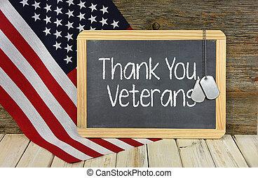 señal, veteranos, pizarra, agradecer