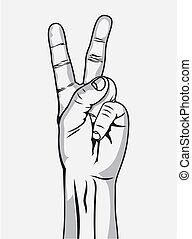señal, victoria, gesto, mano