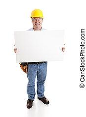 señal, worke, construcción