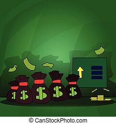 señalar, amontonar, dinero, muestra del dólar, moneda, blanco, arriba., información, oro, espacio, coins, billete de banco., tabla, texto, varios, vacío, colorido, ató, bolsa, flecha, graphics.