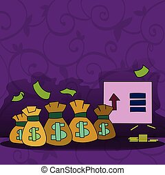 señalar, amontonar, dinero, muestra del dólar, moneda, ...