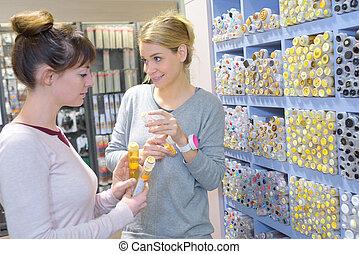 señalar, cerámico, tienda, hembra, azulejo, mosaico
