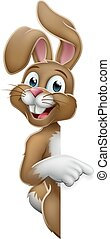 señalar, conejo, señal, caricatura, conejito de pascua