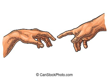 señalar, dios, mano., creación, tacto, dedo, adam., macho