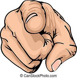 señalar, el, dedo