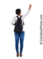 señalar, espacio, espalda, colegio, africano, niña, vacío, ...
