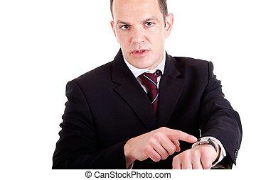 señalar, fondo., disparo., trastorno, aislado, reloj, estudio, hombre de negocios, blanco