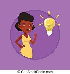 señalar, idea, ilustración, vector, estudiante, bombilla