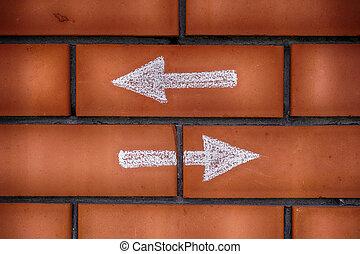 señalar, ladrillos, flechas, dos, delantero, dibujado, atrasado