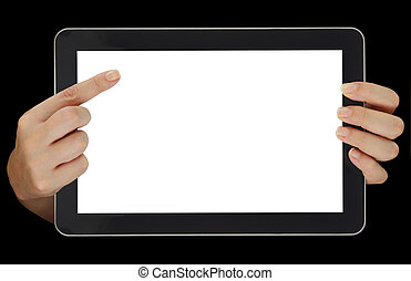 señalar, tableta, pantalla, manos, aislado, hembra, blanco