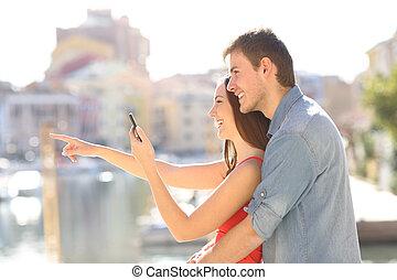 señalar, verificar, vacaciones de los pares, teléfono, lejos