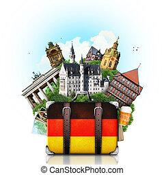 señales, alemán, viaje, alemania