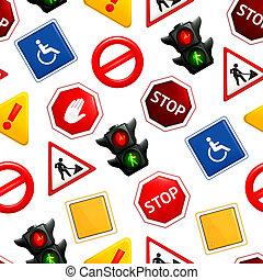 señales carretera, seamless, patrón