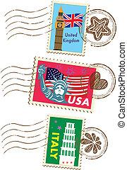 señales, conjunto, sellos