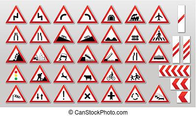 señales de tráfico, -, advertencias